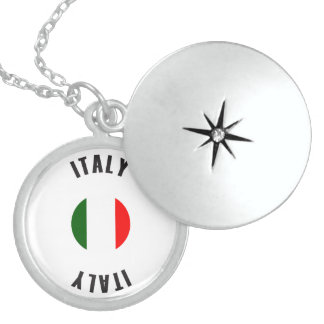 Italy Flag Wheel Sterling Silver Necklace