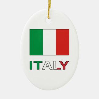 Italy Flag & Word Christmas Ornament