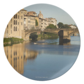 Italy, Florence, Bridge over River Arno Plate