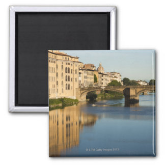 Italy, Florence, Bridge over River Arno Square Magnet