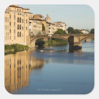 Italy, Florence, Bridge over River Arno Square Sticker