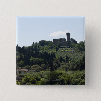 Italy, Florence, Castle on hilltop 15 Cm Square Badge