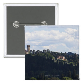 Italy, Florence, Castle on hilltop 2 15 Cm Square Badge