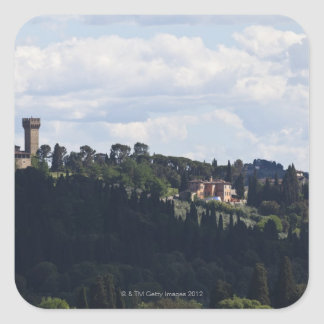 Italy, Florence, Castle on hilltop 2 Square Sticker