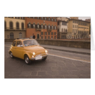 Italy, Florence. Fiat 800 Rally crosses Arno Card