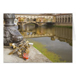 Italy, Florence, Love Locks and Reflections in Greeting Card