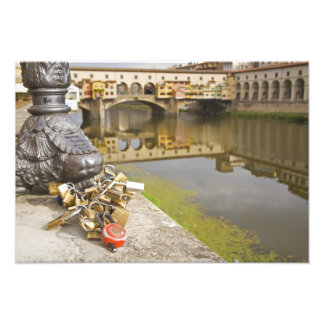 Italy, Florence, Love Locks and Reflections in Photo Print