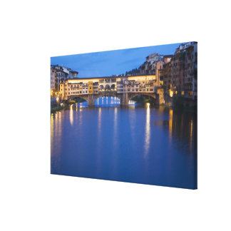 Italy, Florence, Night Reflections in the Canvas Print