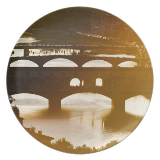 Italy, Florence, Ponte Vecchio and River Arno at Plate