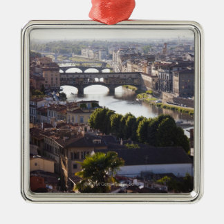 Italy, Florence, Ponte Vecchio and River Arno Christmas Ornament