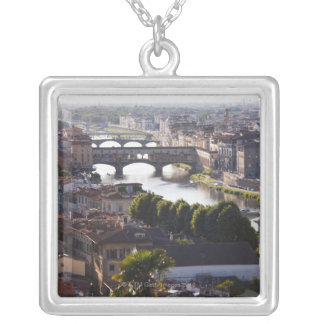 Italy, Florence, Ponte Vecchio and River Arno Silver Plated Necklace