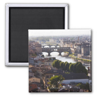 Italy, Florence, Ponte Vecchio and River Arno Square Magnet