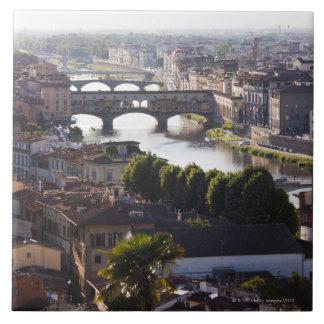 Italy, Florence, Ponte Vecchio and River Arno Tile