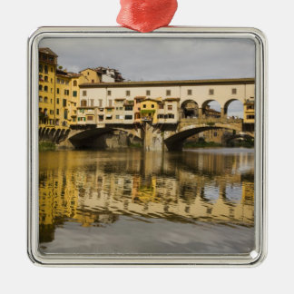 Italy, Florence, Reflections in the River Arno Silver-Colored Square Decoration