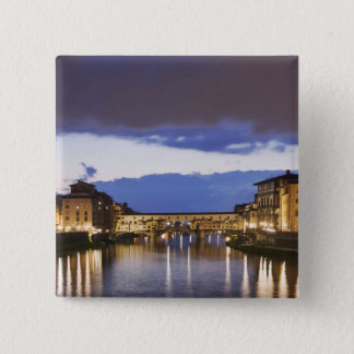 Italy, Florence. Stormy sky over the Ponte 15 Cm Square Badge