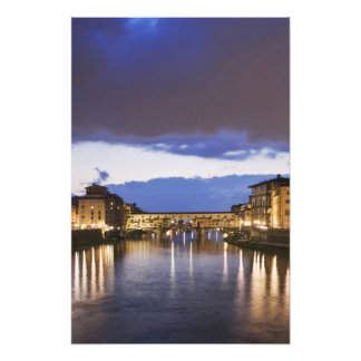 Italy, Florence. Stormy sky over the Ponte Photo Print