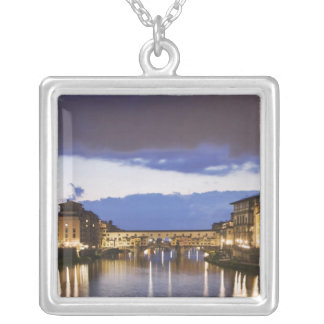 Italy, Florence. Stormy sky over the Ponte Silver Plated Necklace