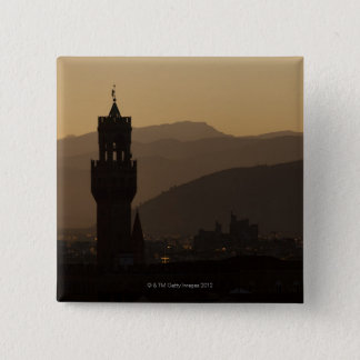 Italy, Florence, Towers in city at dusk 15 Cm Square Badge