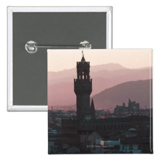 Italy, Florence, Towers in city at dusk 2 15 Cm Square Badge