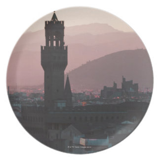 Italy, Florence, Towers in city at dusk 2 Plate