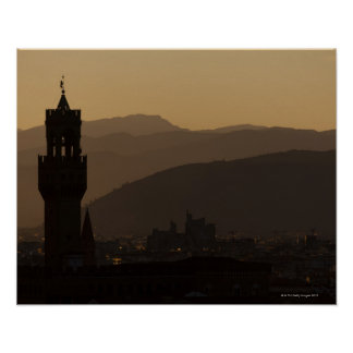 Italy, Florence, Towers in city at dusk Poster