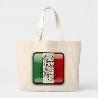 Italy glossy flag large tote bag