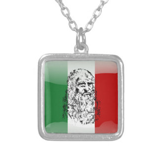 Italy glossy flag silver plated necklace