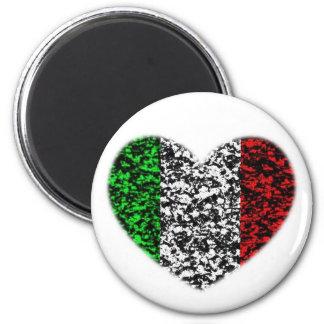 Italy Heart 6 Cm Round Magnet