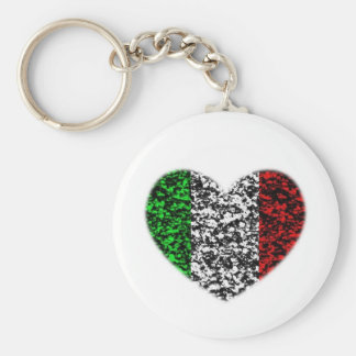 Italy Heart Basic Round Button Key Ring