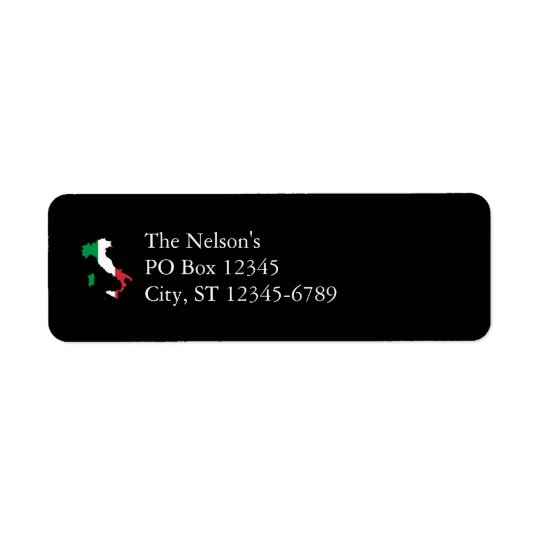 Italy in Flag Colours Return Address Label
