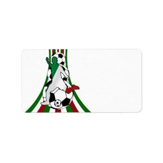 Italy italia, calico football soccer label