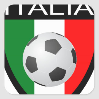 Italy / Italia Flag Patch - with soccer ball Square Sticker