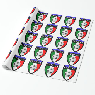 Italy / Italia Flag Patch - with soccer ball Wrapping Paper