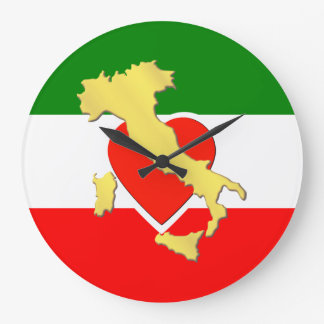 Italy Italia Flag Tricolore Heart Gold Country Large Clock