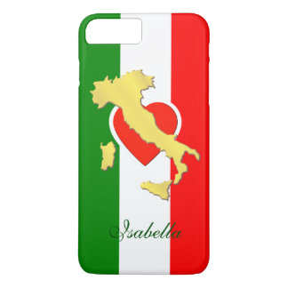 Italy Italia Italian Flag Gold Country Name iPhone 8 Plus/7 Plus Case