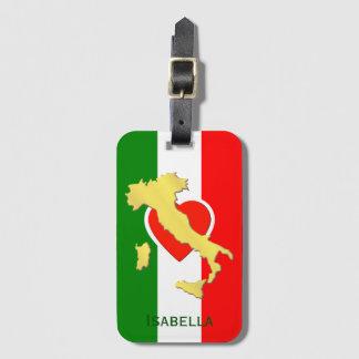Italy Italia Italian Flag Gold Country Name Luggage Tag
