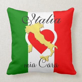 Italy Italia mia Cara Flag Heart Gold Country Cushion