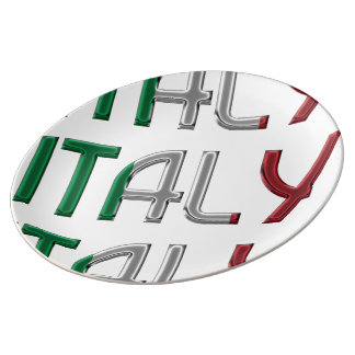 Italy Italian Flag Colors Typography Pattern Plate