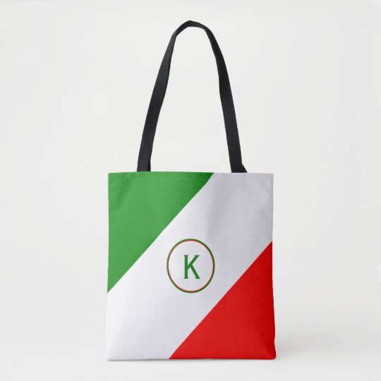 Italy Italian Flag Design with your Initial Tote Bag