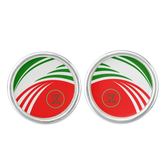 Italy Italian Flag Design with your Initials Cufflinks
