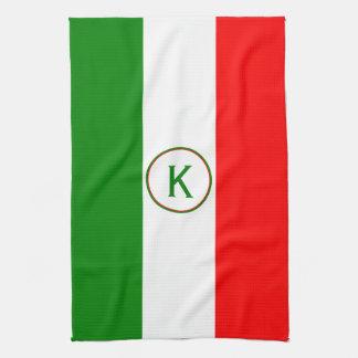 Italy Italian Flag Design with your Initials Tea Towel