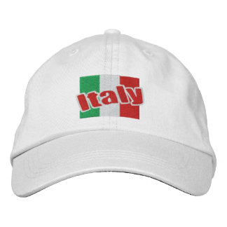 Italy Italian Flag With Text Embroidered Hat