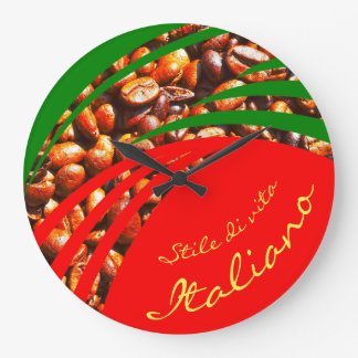 Italy Italian Italia Flag and Coffee Beans Large Clock