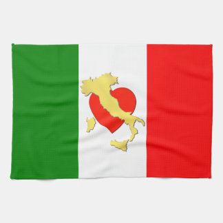 Italy Italian Italia Flag Tricolore Heart Country Tea Towel