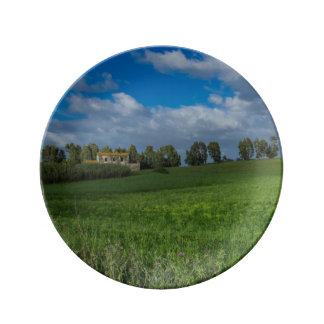 Italy landscape with house plate