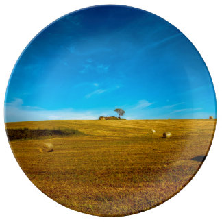 Italy landscape with tree porcelain plate