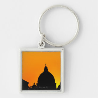 Italy, Lazio, Rome, St Peter's Cathedral Silver-Colored Square Key Ring