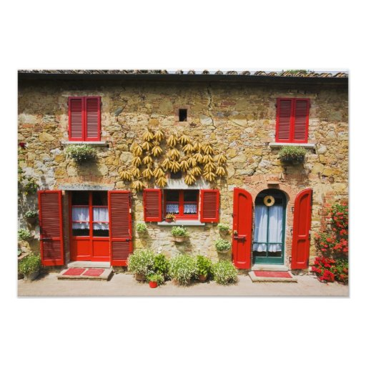 Italy, Lucignano, Red Shutters and Harvest Photo