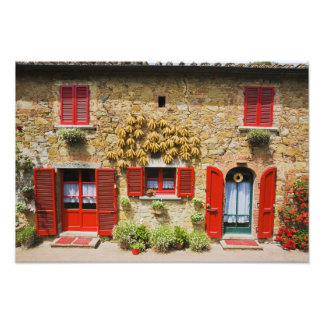 Italy, Lucignano, Red Shutters and Harvest Photo Print
