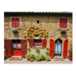Italy, Lucignano, Red Shutters and Harvest Postcard
